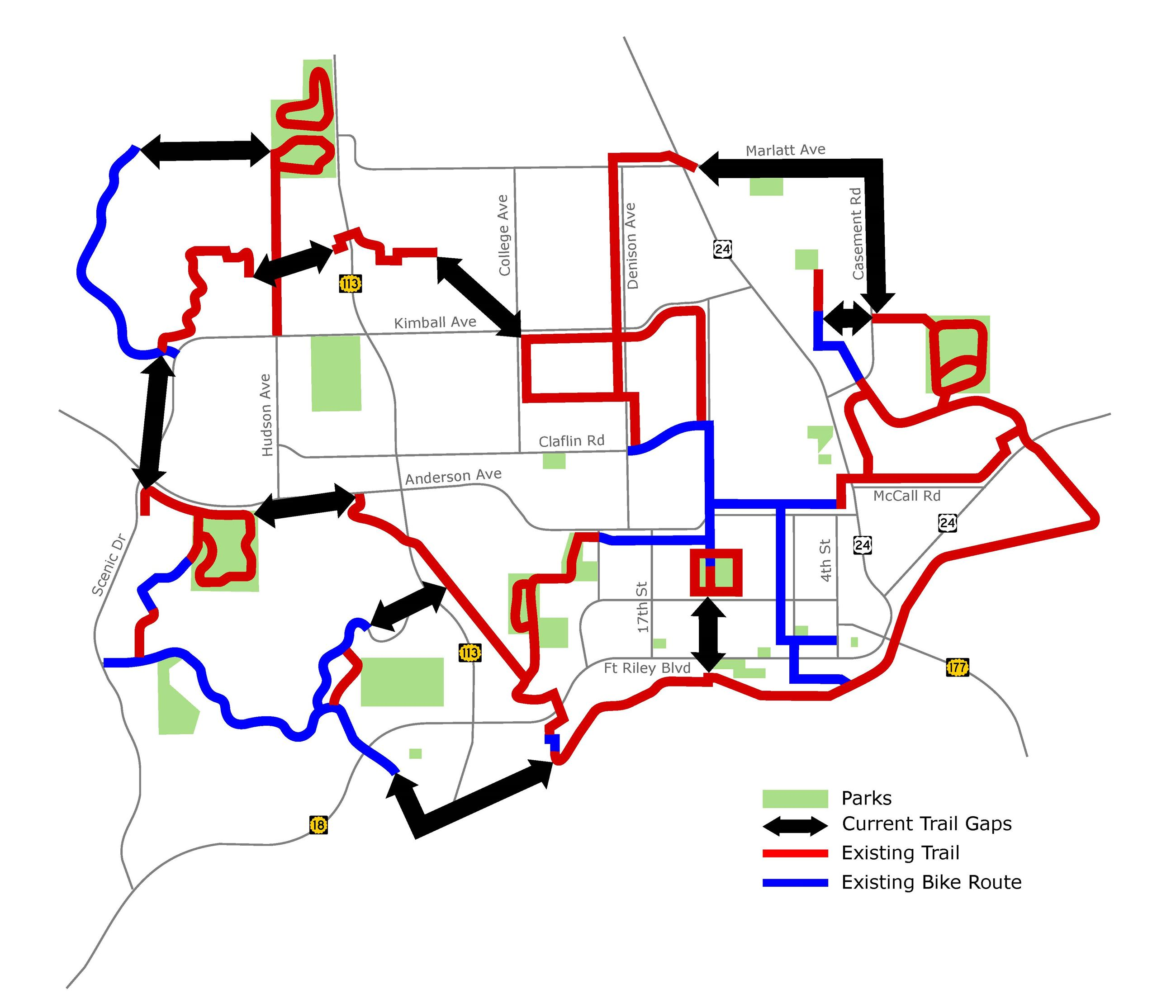 Map of gaps in a city trail