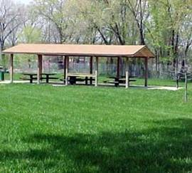 A shelter in Sojourner Truth Park